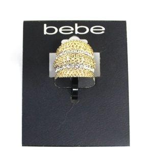 Bebe Gold Tone Ring Pave  Crystal Rhinestones NWT